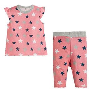 Yıldız Baskılı Kısa Kol Pijama Takımı Beyaz (0-3 yaş)