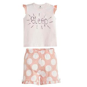 Puantiyeli Kısa Kol Şort Pijama Takımı Ekru (0-3 yaş)