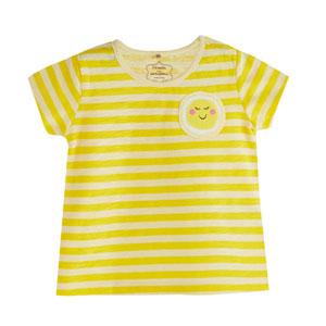 Pop Girls Çizgili Kısa Kol Tişört Koyu Sarı (0-2 yaş)