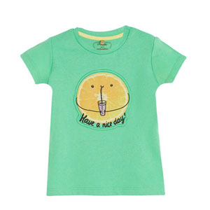 Pop Girls Mandalina Kısa Kol Kız Bebek Tişört Green Tea (0-2 yaş)