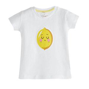 Pop Girls Uyuyan Limon Kısa Kol Tişört Beyaz (0-2 yaş)