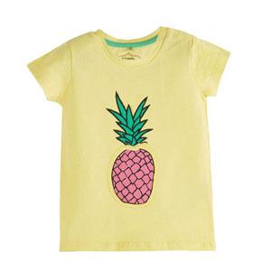 Pop Girls Ananaslı Kısa Kol Tişört Limon Sarısı (0-2 yaş)
