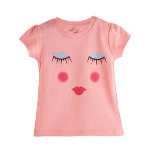 Pop Girls Uyuyan Surat Kısa Kol Kız Bebek Tişört Pink Tint (0-2 yaş)