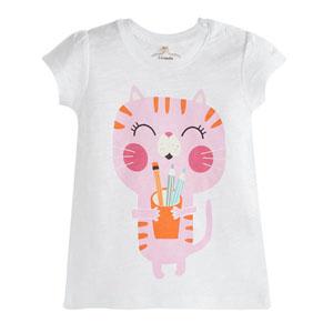 Pop Girls Mutlu Kedi Kısa Kol Kız Bebek Tişört Beyaz (0-2 yaş)