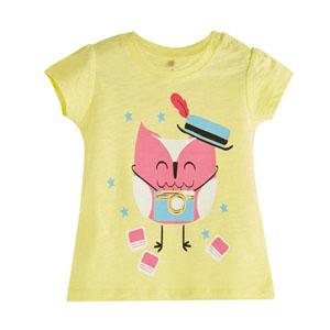 Pop Girls Sihirbaz Kedi Kısa Kol Kız Bebek Tişört Limon Sarısı (0-2 ya