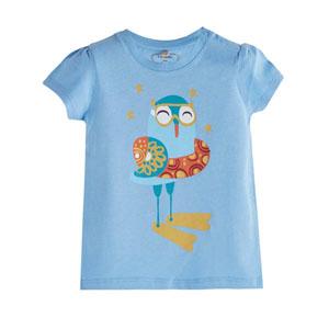 Pop Girls Denizci Kuş Kısa Kol Kız Bebek Tişört Violet (0-2 yaş)