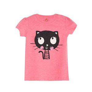 Pop Girls Utangaç Kedi Kısa Kol Kız Bebek Tişört Tatlı Pembe (0-2 yaş)