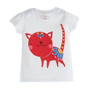 Pop Girls Etnik Kedi Kısa Kol Kız Bebek Tişört Beyaz (0-2 yaş)