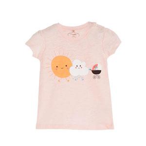 Pop Girls Güneş,Bulut,Gökkuşağı Kısa Kol Kız Bebek Tişört Pink Lady (0