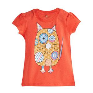 Pop Girls Puantiyeli Kedicik Kısa Kol Kız Bebek Tişört Elma Şekeri (0-