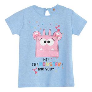 Pop Girls Tokalı Canavar Kısa Kol Kız Bebek Tişört Violet (0-2 yaş)
