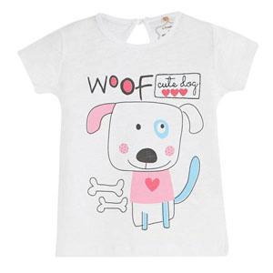 Pop Girls Sevimli Köpek Kısa Kol Kız Bebek Tişört Beyaz (0-2 yaş)