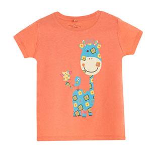 Pop Girls Sevimli Zürafa Kısa Kol Kız Bebek Tişört Honalolu (0-2 yaş)