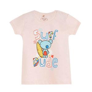 Pop Girls Sörfçü Ayıcık Kısa Kol Kız Bebek Tişört Pink Lady (0-2 yaş)