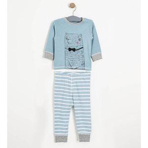 Erkek Bebek Pijama Takımı Mavi Melanj (56 cm-3 yaş)