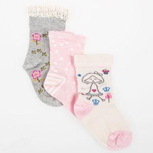 Kız Bebek Üçlü Çorap Set Gri Melanj (14-22 numara)