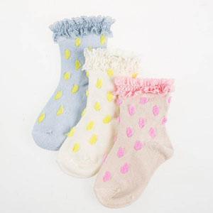Kız Bebek Üçlü Çorap Set Ekru (14-22 numara)