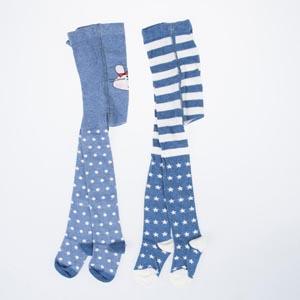 İkili Külotlu Kız Çocuk Çorap Mavi Melanj (17-22 numara)