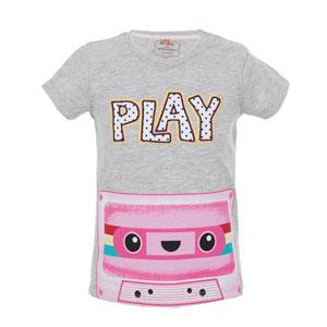 Retro Play Kısa Kol Kız Çocuk T-Shirt Gri Melanj (56-92 cm)