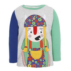 Kız Bebek Uzun Kol T-Shirt Gri Melanj (56-92 cm)