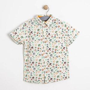 Erkek Çocuk Kısa Kol Gömlek Ekru (3-7 yaş)