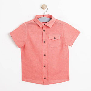 Erkek Çocuk Kısa Kol Gömlek Mercan (3-7 yaş)