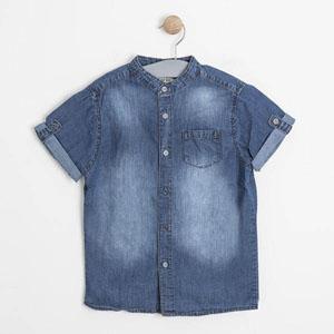 Erkek Çocuk Kot Kısa Kol Gömlek Mavi (3-7 yaş)