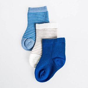 Erkek Bebek Üçlü Çorap Set Mavi (14-22 numara)
