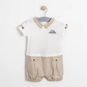 Erkek Bebek Kısa Kol Tulum Beyaz (56-80 cm)