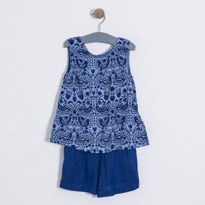 Kız Çocuk Bluz Şort Set Mavi (3-7 yaş)