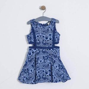 Kız Çocuk Kolsuz Elbise Mavi (3-7 yaş)