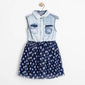 Kız Çocuk Kolsuz Kot Tütü Elbise Lacivert (3-12 yaş)