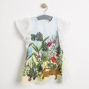 Kız Çocuk Kısa Kol Elbise Ekru (1-7 yaş)