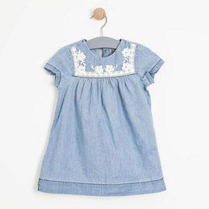 Kız Çocuk Kısa Kol Elbise Açık Mavi (1-7 yaş)