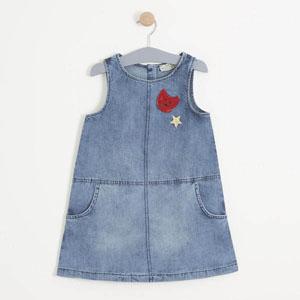Kız Çocuk Kolsuz Kot Elbise Mavi (3-7 yaş)