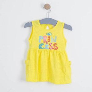 Kız Çocuk Kolsuz Elbise Sarı (1-7 yaş)