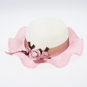 Kız Çocuk Hasır Şapka Pembe (3-8 yaş)