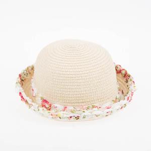 Kız Çocuk Hasır Şapka Ekru (3-8 yaş)