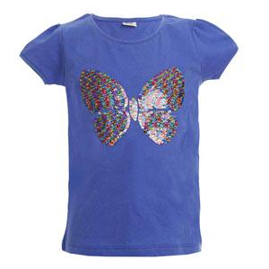 Kız Çocuk Kısa Kol Tişört Pulm Blue (3-12 yaş)