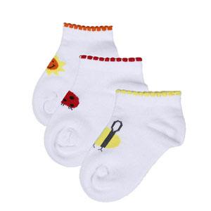 Kız Bebek Üçlü Çorap Set Beyaz (14-22 numara)
