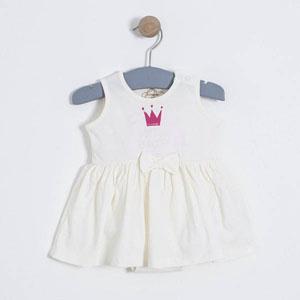 Kız Bebek Kolsuz Elbise Ekru (0-2 yaş)