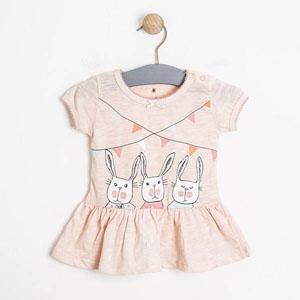 Kız Bebek Kısa Kol Tunik Açık Pembe (0-2 yaş)