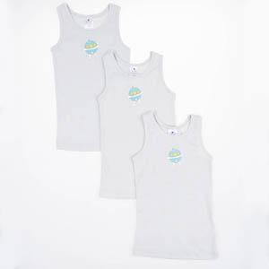 Erkek Çocuk Üçlü Atlet Set Beyaz (2-6 yrs)