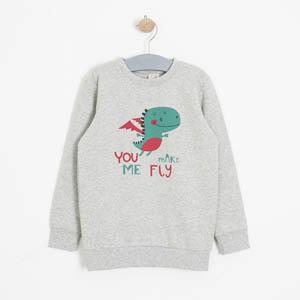Erkek Çocuk Sweatshirt Açık Gri Melanj (3-7 yaş)