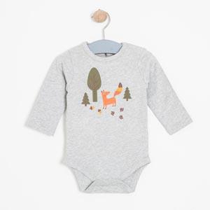 Erkek Bebek Uzun Kol Badi Gri Melanj (0-2 yaş)