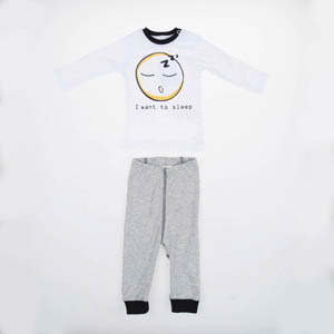 Erkek Bebek Pijama Takımı Beyaz (0-2 yaş)