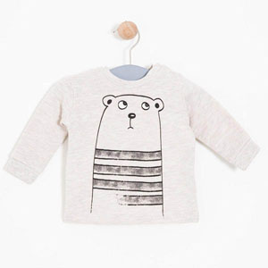 Erkek Bebek Sweatshirt Bej Melanj (0-2 yaş)