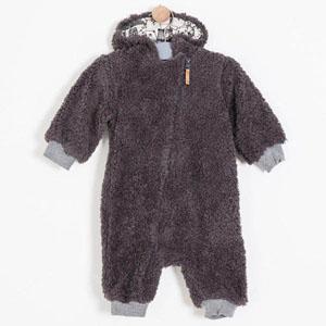 Erkek Bebek Peluş Tulum Antrasit (56-86 cm)