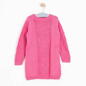 Kız Çocuk Uzun Kol Elbise Şeker Pembe (3-7 yaş)