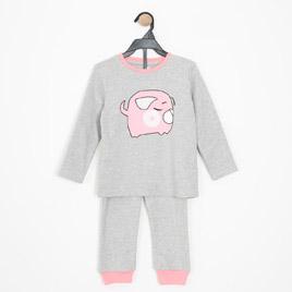 Kız Çocuk Pijama Takımı Gri Melanj (3-7 yaş)